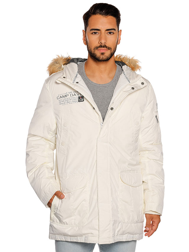 Camp David Daunenparka mit Logoprint, white