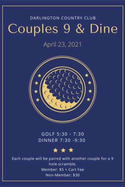 Blue and Yellow Bordered Golf Poster